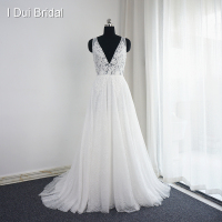 Vestido De Noiva V Neck Wedding Dresses Real Photo A line Sexy Bohemia Beach Bridal Gown Drop Ship