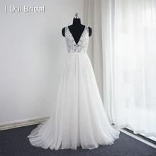 Vestido דה Noiva V צוואר חתונת שמלות תמונה אמיתית קו סקסי בוהמיה חוף כלה שמלה זרוק ספינה