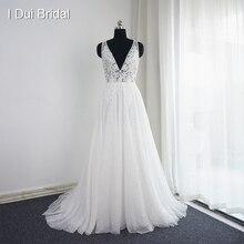 Vestido de noiva com decote em v vestidos de casamento foto real uma linha sexy bohemia praia vestido de noiva do navio da gota