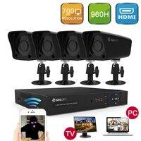 SUNLUXY 4CH 960H 700TVL DVR CCTV SET With Buttons 4 Bullet Camera Surveillance System Outdoor Security