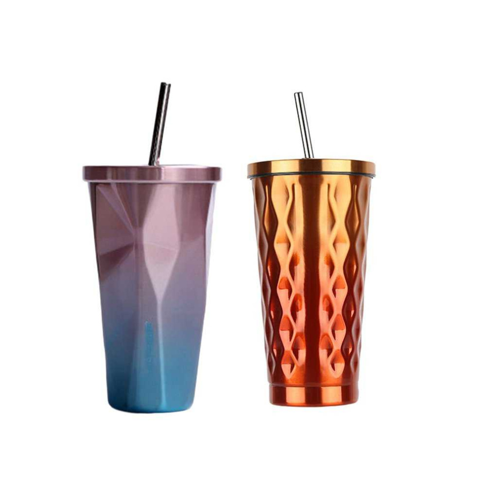 473ml Stainless Steel Tea Coffee Water Cup Creative Diamond Shaped Design With Lid Straw 2 Colors Drinkware Novelty Gifts