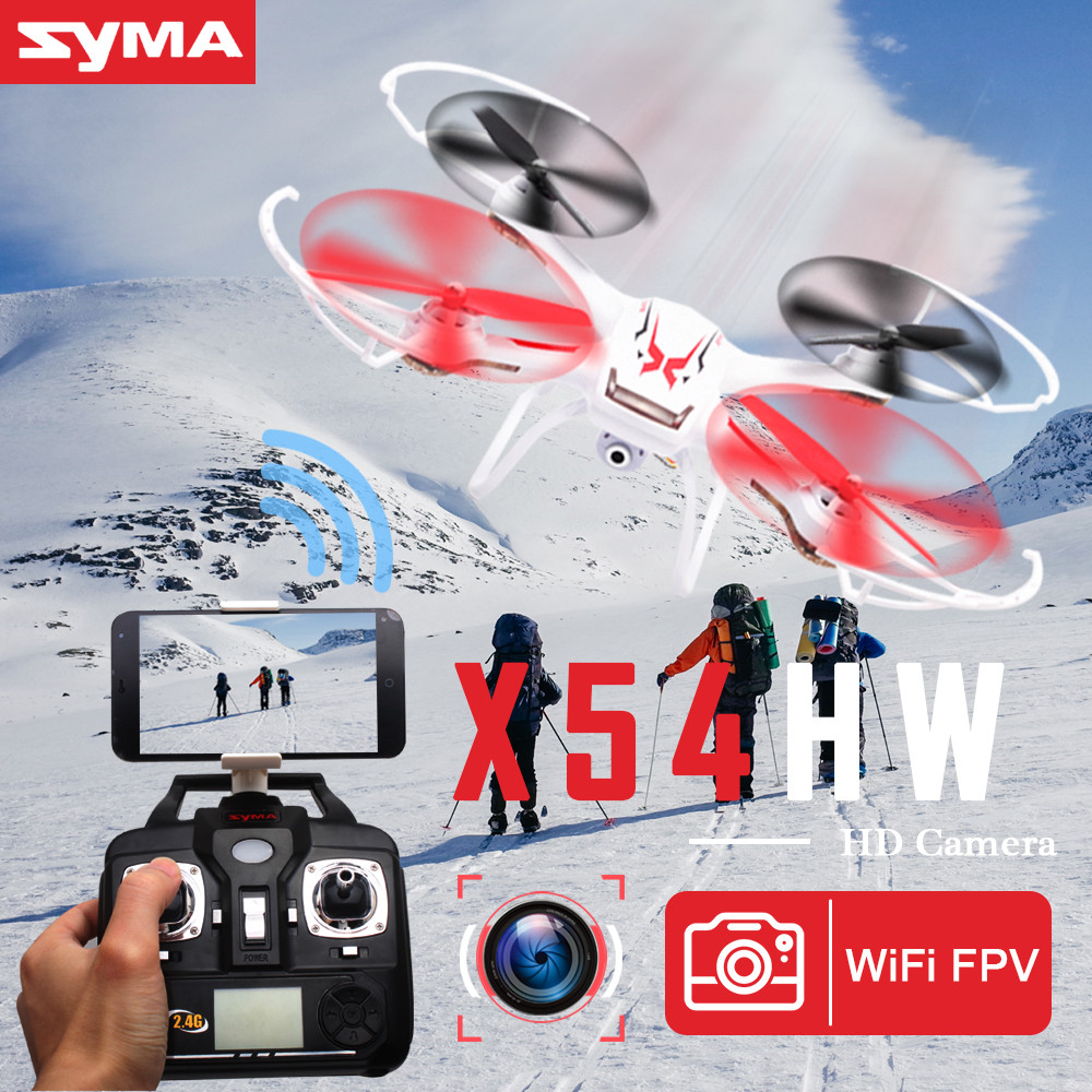 Original SYMA X54HW RC Helicopter 2.4G 4CH 6-Axis Remote Control Quadcopter Hover 3D Flip Drone with HD Camera Model Gift Toy professional syma x5uc 4ch quadrocopter rc drone 2 4g remote control drone with hd camera rc helicopter with original box