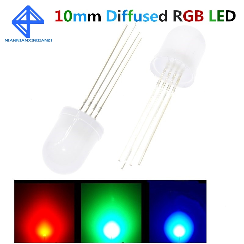 Active Components Fine 20pcs 10mm Full Colors Diffused Rgb Led Common Cathode 20ma 3 Colors Red Green Blue 4 Pin 10 Mm Light-emitting Diode Led Lamp To Invigorate Health Effectively Diodes