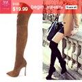 2016 botas de inverno de alta qualidade apontou toe sobre as botas do joelho mulheres primavera sapatos botas de inverno coxa botas altas 6 cores mais siz