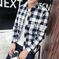 2016 New Men Plaid Shirts Summer Slim Breathable Long Sleeve Man Shirt Formal&Casual Fashion Dress M-4XL Men's Printed Shirts