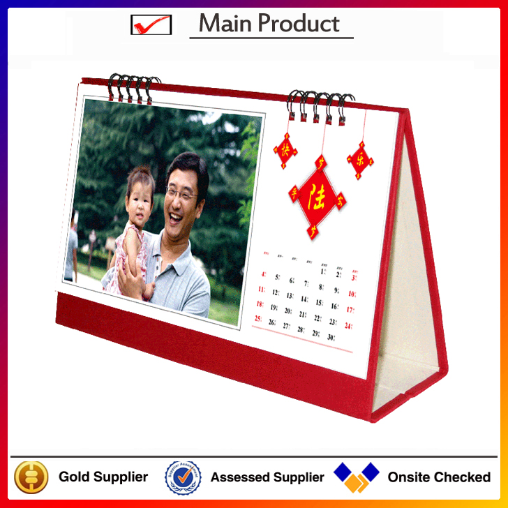 2016 advertising spiral binding standing table calendar customized