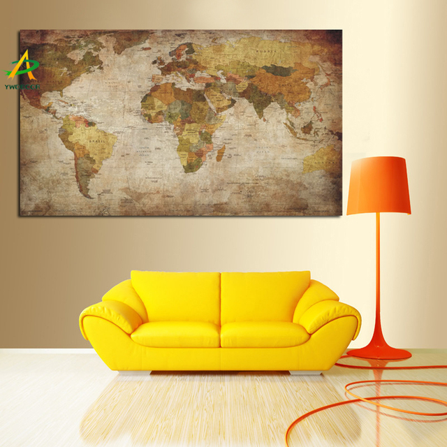 YWDECOR Large Size Vintage World Map Painting HD Print On Canvas ...