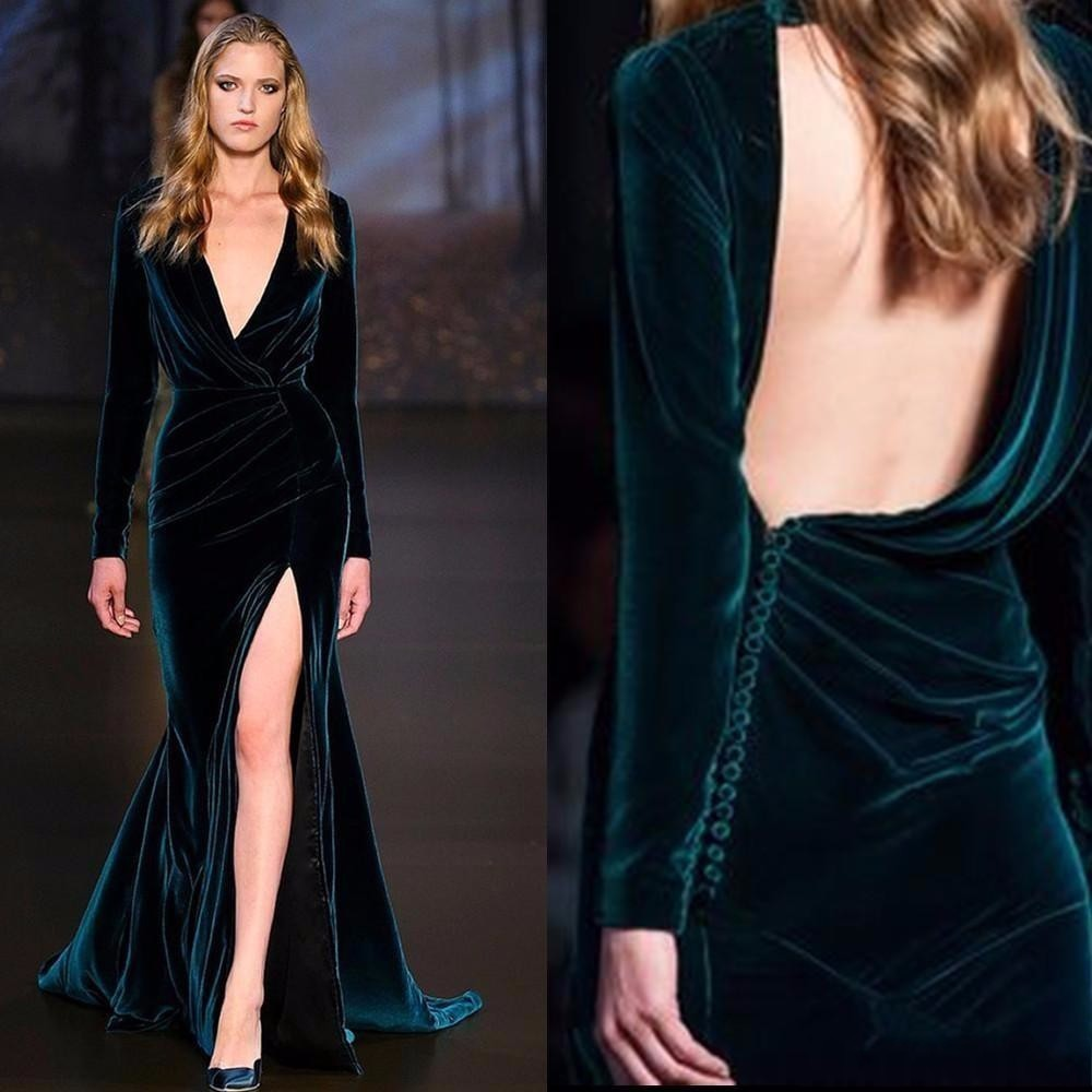 762dd3e6a Elegant Sexy Side Slit Emerald Green Velvet Long Sleeve Formal Evening  Dresses Dubai Moroccan Abendkleider Prom Gowns