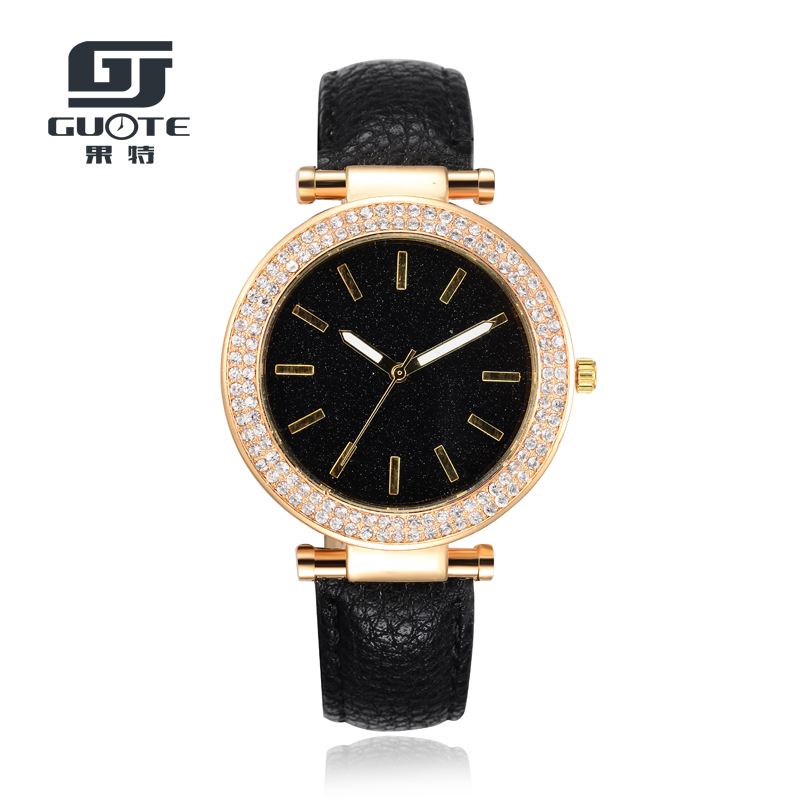 GUOTE New Fashion Women Luxury Brand Gold Crystal Casual Quartz Watch Women Leather Strap Dress Watches Relogio Feminino Red Hot guote hot gold full stainless steel wristwatch fashion casual quartz watches men luxury brand women dress watch relogio male