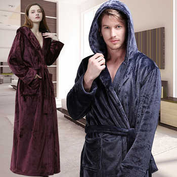 Men Women Winter Hooded Extra Long Thick Flannel Warm Bath Robe Plus Size Luxury Soft Thermal Bathrobe Dressing Gown Male Robes - DISCOUNT ITEM  39% OFF All Category