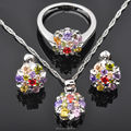 Custom Jewelry! Multicolor Cubic Zircon For Women Silver Jewelry Sets Earrings/Pendant/Necklace/Rings Free Shipping  JS020