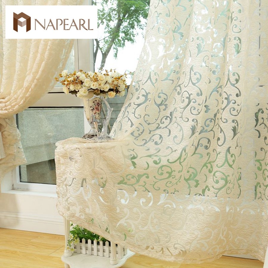 NAPEARL 1 Piece European Style Jacquard Curtain For Home Window Treatments Short Kitchen Curtains Modern Living Room Ready Made