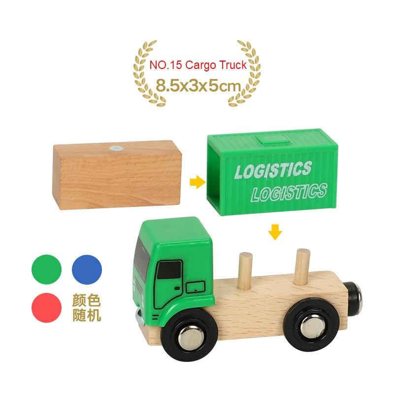 EDWONE деревянный магнитный Поезд Самолет деревянная железная дорога вертолет автомобиль грузовик аксессуары игрушка для детей подходит Дерево Biro треки подарки - Цвет: NO.15 Cargo Truck