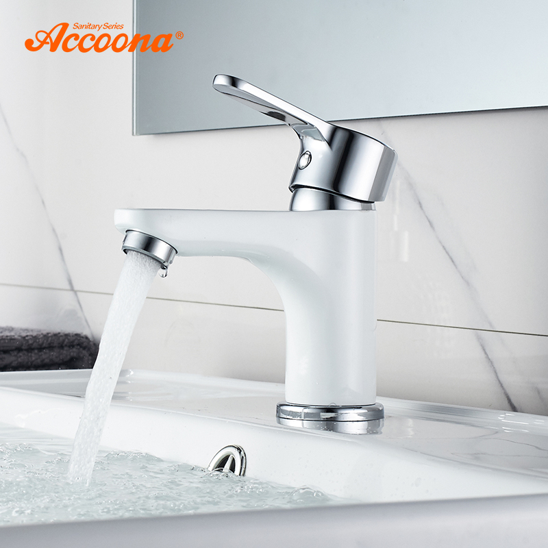Accoona New Basin Faucet Contemporary Bathroom Faucet Painted Brass Single Handle Single Hole Hot and Cold