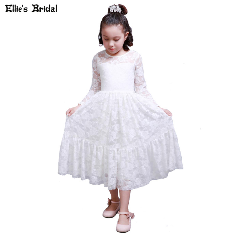 High Quality White Lace Girl Dress Long Sleeve Princess Dress Children Costumes Wedding Party Kids Dresses for Girls Clothes spring autumn girl style dress princess girls dresses high quality cotton kids party costumes solid thicker vestidos zipper bow