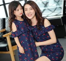 Ruffled Mother Daughter Dresses Family Look Mommy and Me Matching Clothes Off Shoulder Mom Mum Girls Dress Clothing Outfits