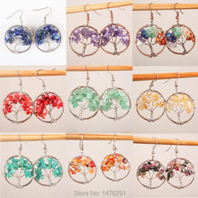 New Healing Chakra Tree Of Life Wire Wrapped Tumbled Stone Beads Round Dangle Drop Hook Earrings 1pair