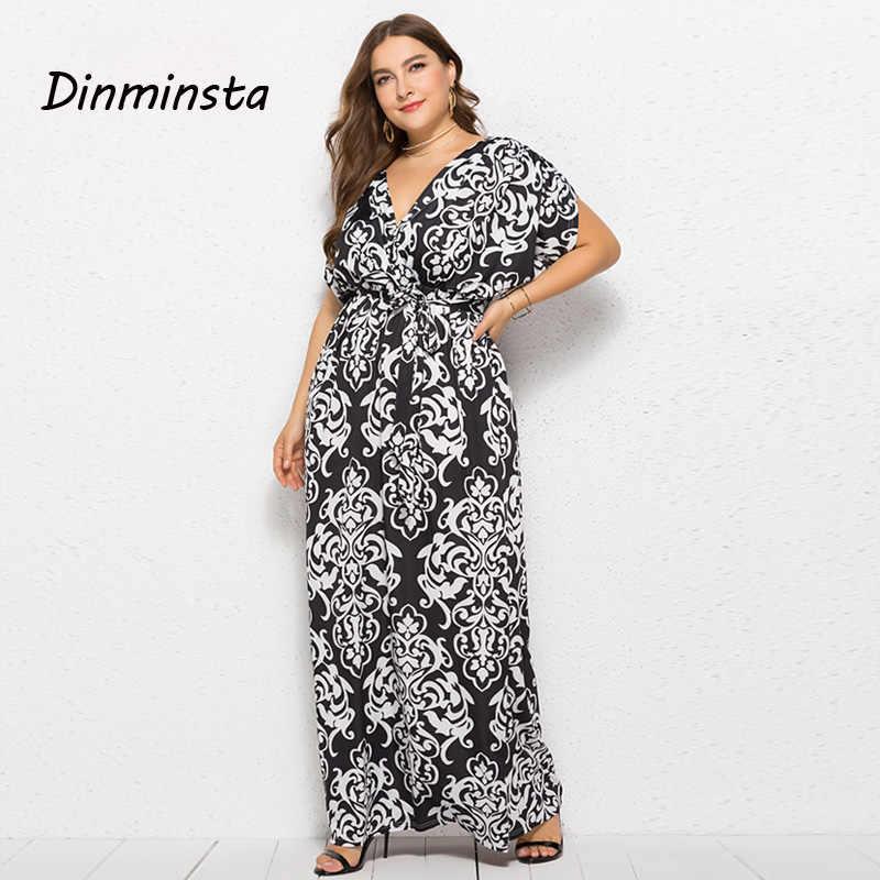 ca4862d7ce Dinminsta Women Long Beach Plus Size Dresses Elegant Casual Floor Length  Maxi Dress Female Large Batwing Sleeve Higt Waist Frock
