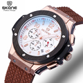 SKONE Chronograph 6 Hands 24 Hours Function Men Sport Watch Silicone Luxury Watch Men Top Brand Military Watch Relogio Masculino