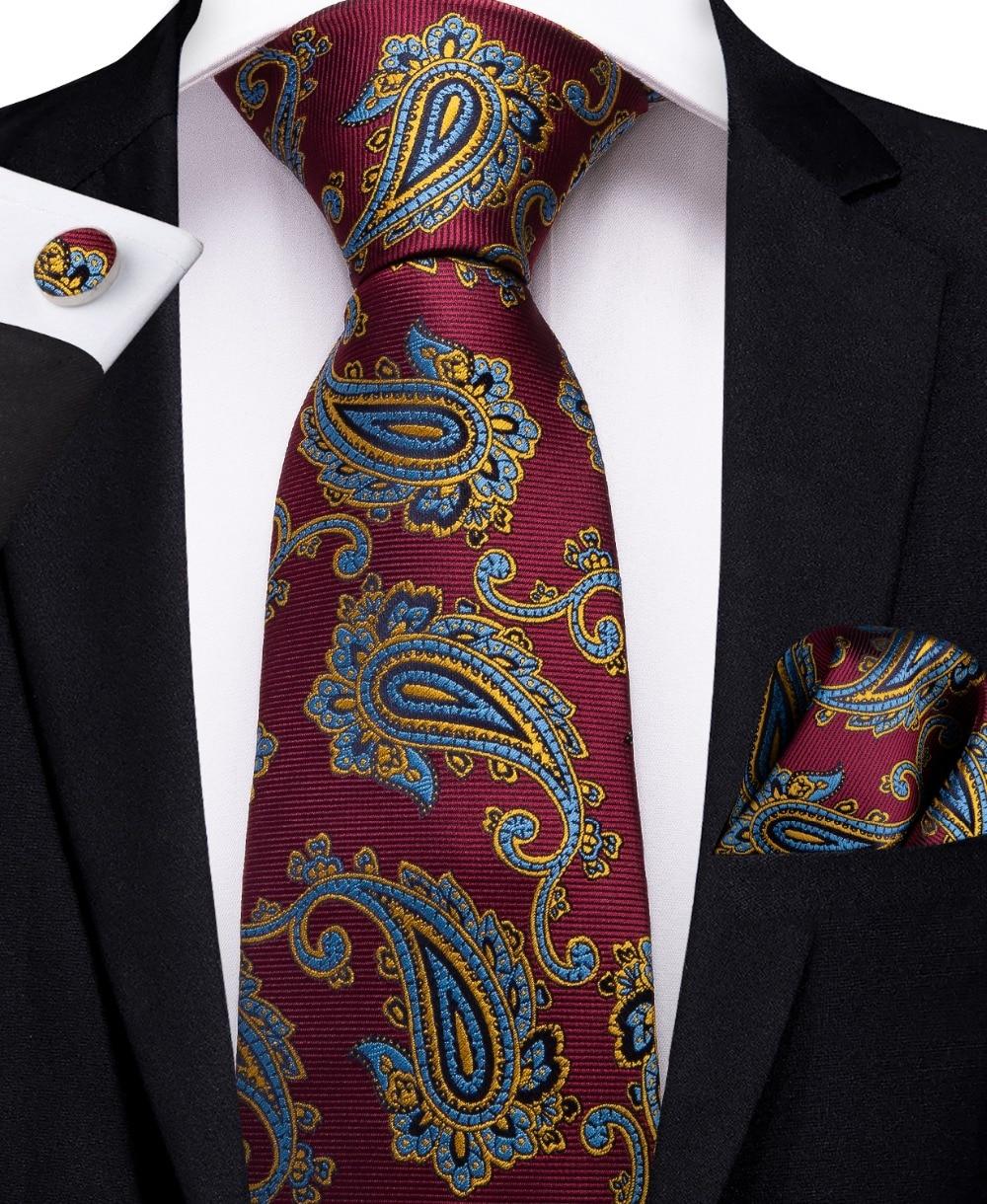 New Men/'s Classic Paisley Silk Necktie Handkerchief Set Party Jacquard Suit Tie