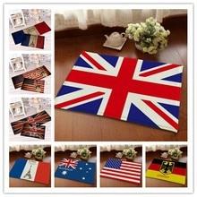 Фланель национальный флаг входная дверь ванной коврик мягкий теплый водопоглощение национальный флаг ковер 40 * 60 см