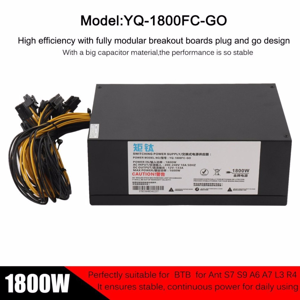 High Efficiency 1800W Server PSU Power Supply 6PIN Mining Machine Power Supply For Antminer S7 S9 A6 A7 L3 R4 EU Plug new max 1850w miner mining power supply 6 pin for antminer coin btb s9 s7 a7 a6 l3 r4 high quality computer power supply for btc