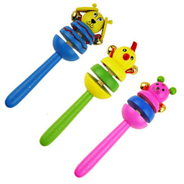 16CM Colorful Wooden Rattle Children Toys Random Color Bell Shaker Stick Toy Cartoon Animal Baby Children's Educational Toys P0 5