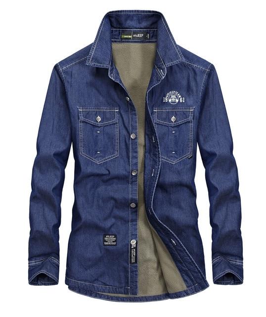 Для мужчин теплые толстые зимние хлопковые флисовые Рубашки домашние муж. брендовая джинсовая рубашка Для мужчин с длинным рукавом утолщение Джинсы с флисом платье рубашка