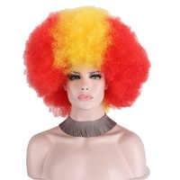 Afro Clown peruka Big wentylatory górne Party peruki kobiety mężczyźni dzieci kręcone kibice piłki nożnej peruka brak koronkowe peruki włosy syntetyczne Unsex