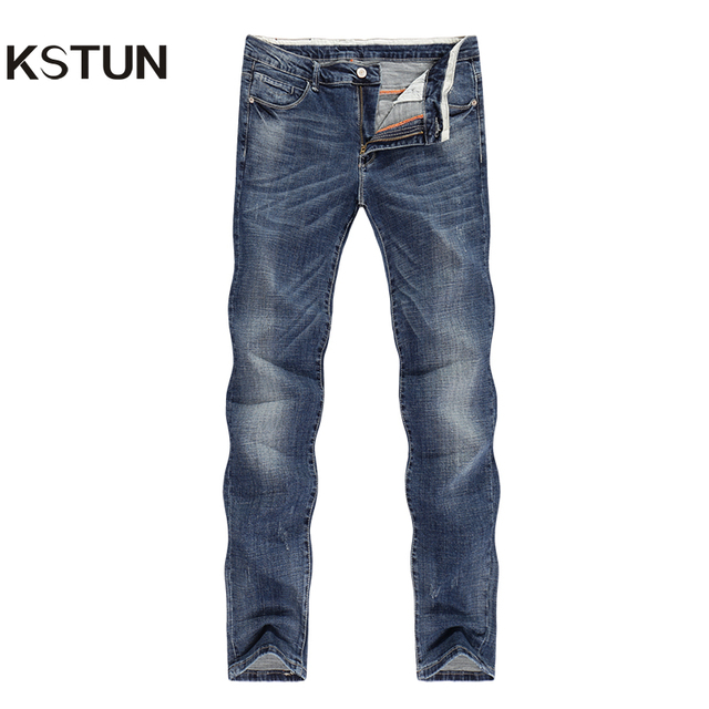 KSTUN Jeans Men Light Blue Retro Business Casual Straight Slim Stretch Thick Vintage Biker Streetwear Denim Pants Jogger Cowboys