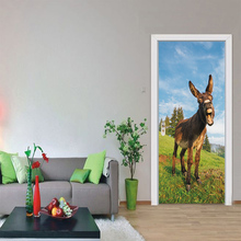 2pcs/set Walking A Donkey Door Sticker Adesivo De Parede Wall Decals Abstract Art Animal Wallpaper Decoration Cool Home Decor