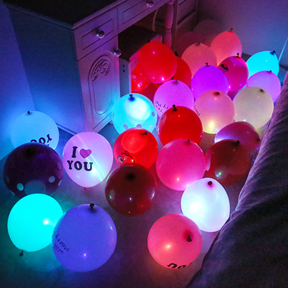 Newest 100Pcs Colorful LED Lamp Lights Party Glow Balloons For Glow Party Supplies 2017ing 88