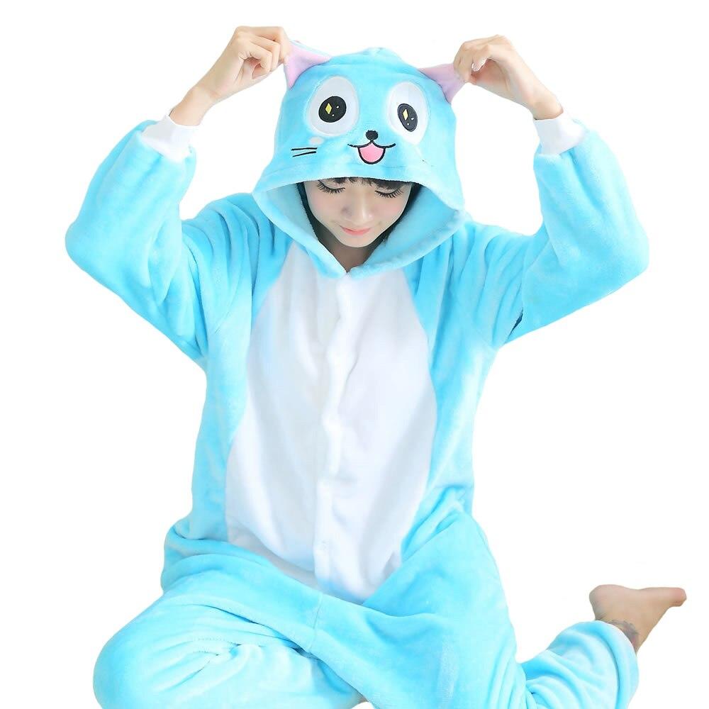62a32f7b8 Pijamas de invierno pijamas de animales traje de una pieza parejas mono  unisex encantador lindo gato pijama