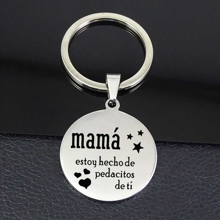 "Mama Disc Keychain estoy ""hechode pedocitos de ti"" Best Mother's Day Gift Keychains Jewelry for Drop Shipping YP7088"