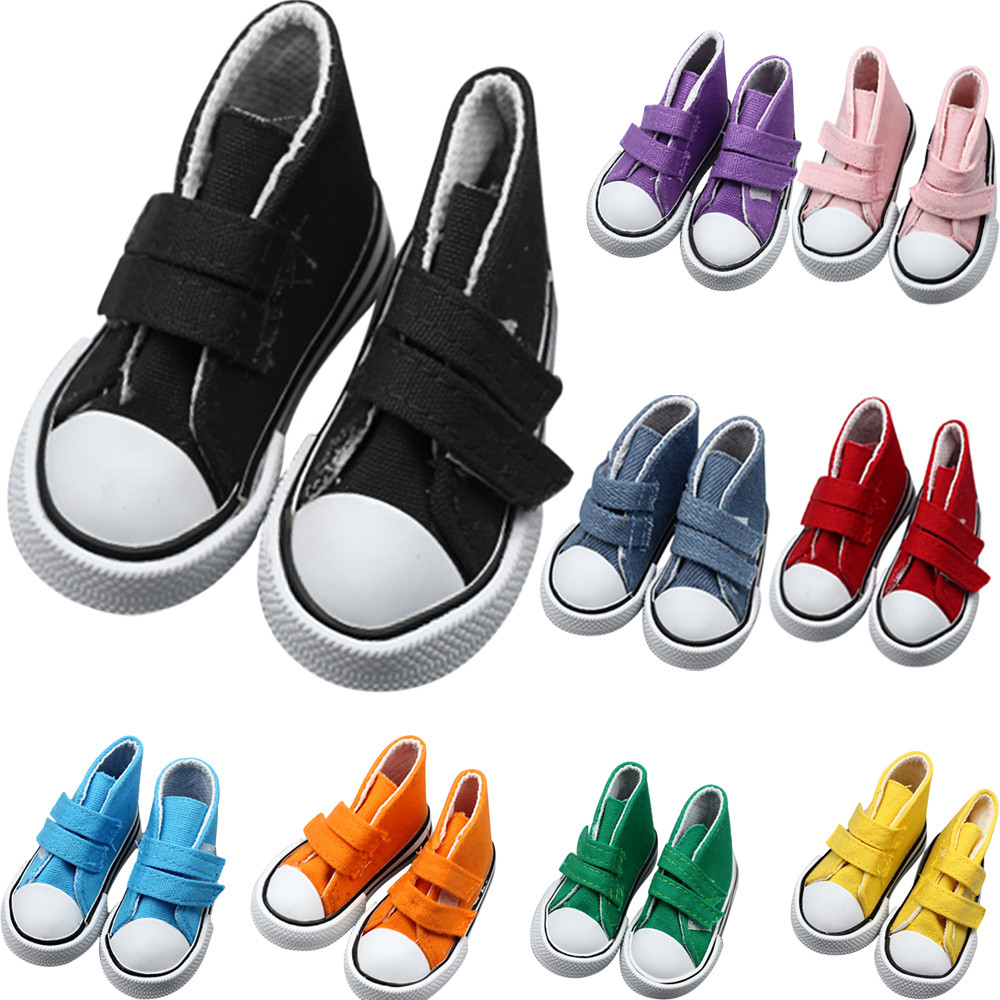 PU Canvas Magic Sticker Sneakers Shoes For 18 inch American Girl & Boy Dolls the United States Girls Doll Clothing