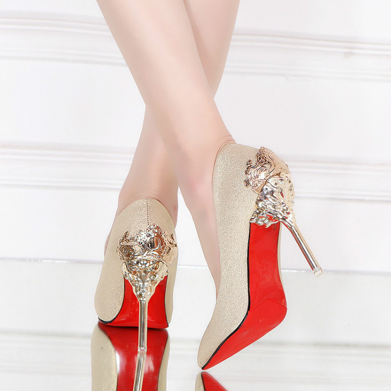 2017 Spring Autumn Shoes Woman Thin High Heels Pumps Red Sexy Black Gold Silver Luxury Metal Design Wedding Party Dress Shoes [saziae] red bottom high heels women pumps glitter high heel shoes woman sexy wedding party shoes gold black female sexy pumps