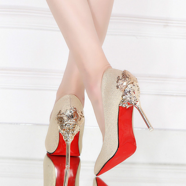 2017 Spring Autumn Shoes Woman Thin High Heels Pumps Red Sexy Black Gold  Silver Luxury Metal