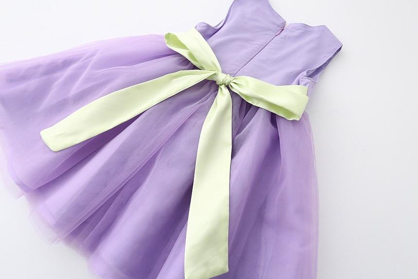 VIMIKID 17 New Girls tutu dress + belt flowers gauze children princess vest dress Girls lace dress kids clothes pink purple 17