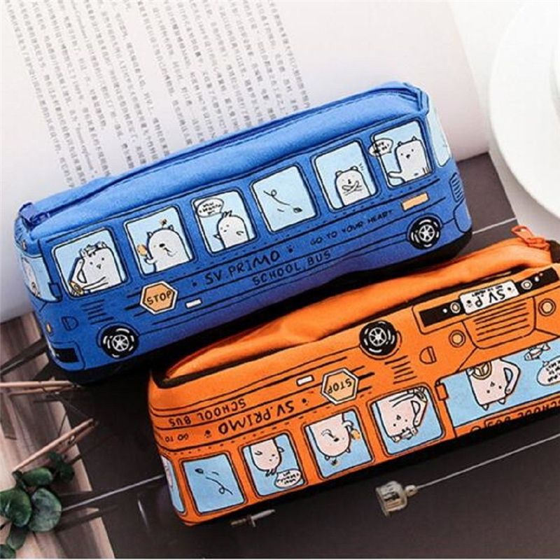 1Pc Creative School Bus Pencil Case Large Capacity Cute Pencil Case School  Etui Pencilcase Estuche Escolar Trousse