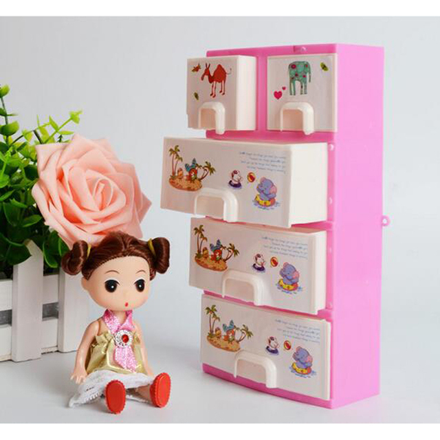Doll Furniture Closet Wardrobe Storage Pink Cabinet Princess Bedroom Doll  Accessories Dollhouse Bedroom Furniture For Girls