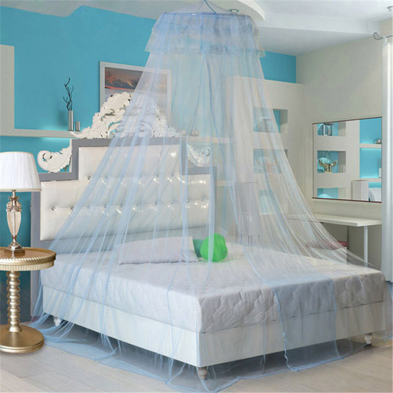 Home Textile Romantic Elegant Lace Hanging Bedding Hung Dome Mosquito Net For Summer Bedroom Polyester Mesh Fabric Net