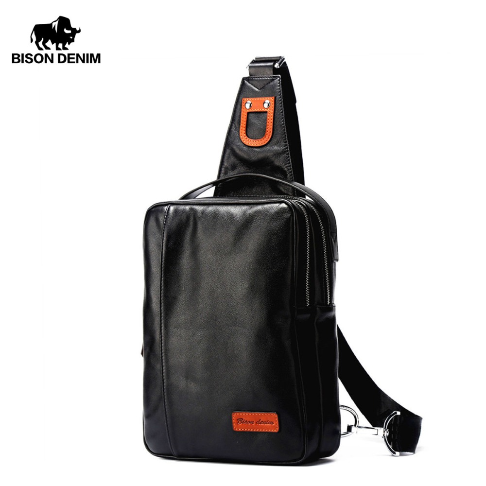 BISON DENIM Small Chest Bag Genuine Leather Ipad ProMens Crossbody Bags Black Soft Cowhide Casual Chest