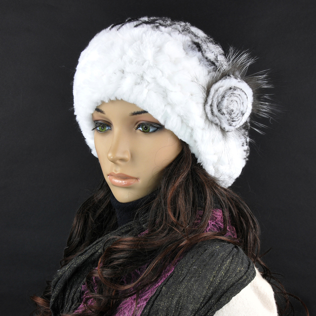 Women's hats Rex Rabbit Fur Hat Real Fur A Cap Winter Hats Beanies Cap Hand Sewing Skullies Elastic Lady Headwear W#29