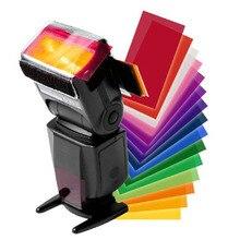 LANBEIKA 12 pièces/lot Flash Speedlite couleur Gels filtres cartes pour Canon pour appareil photo Nikon Gels photographiques filtre Flash Flash