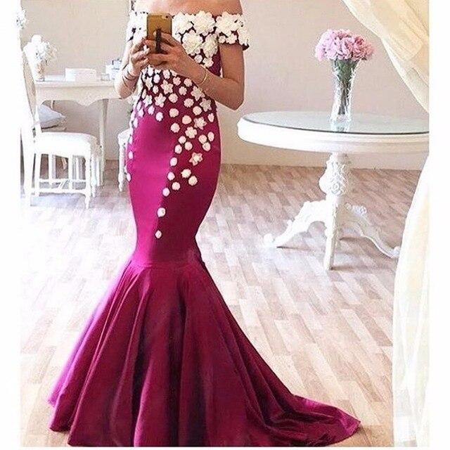 New Arrival Fuchsia Appliques Boat Neck Mermaid   Evening     Dresses   Long 2017 Fashion Cap Sleeve Prom   Dresses   robe de soiree 2017