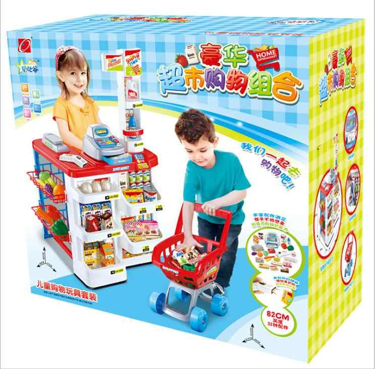 toys for children KIDS TOYS Cash Register Shop Trolley Cart Supermarket Checkstand with A Shopping Cart Kitchen Pretend Play Toy