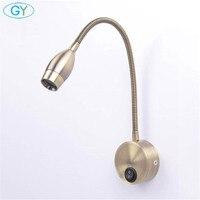 3W European style Bronze goose neck wall lamp LED mirror lights modern bedside bedroom switch lamps gooseneck reading sconces