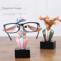 Seans Glasses Frame Study Storage Display Stand Cute Animal Deer Head Office Desktop Decorations Gift