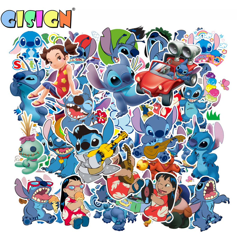 55Pcs Cartoon Lilo Stitch Anime Stickers On The Laptop Kids Stickers For Luggage Car Motorcycle Skate Suitcase Scrapbook Toys(China)