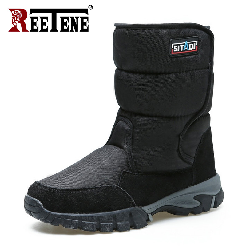 REETENE Snow Boots Fashion Men Winter Shoes Winter With Fur Warm Snow Boots Plush Inside Bottom Keep Warm Waterproof Boots 40-48